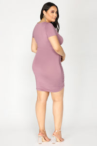 Lhasa Ruched Dress - Lavender Angle 6