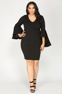 Take Your Lady Out Midi Dress - Black