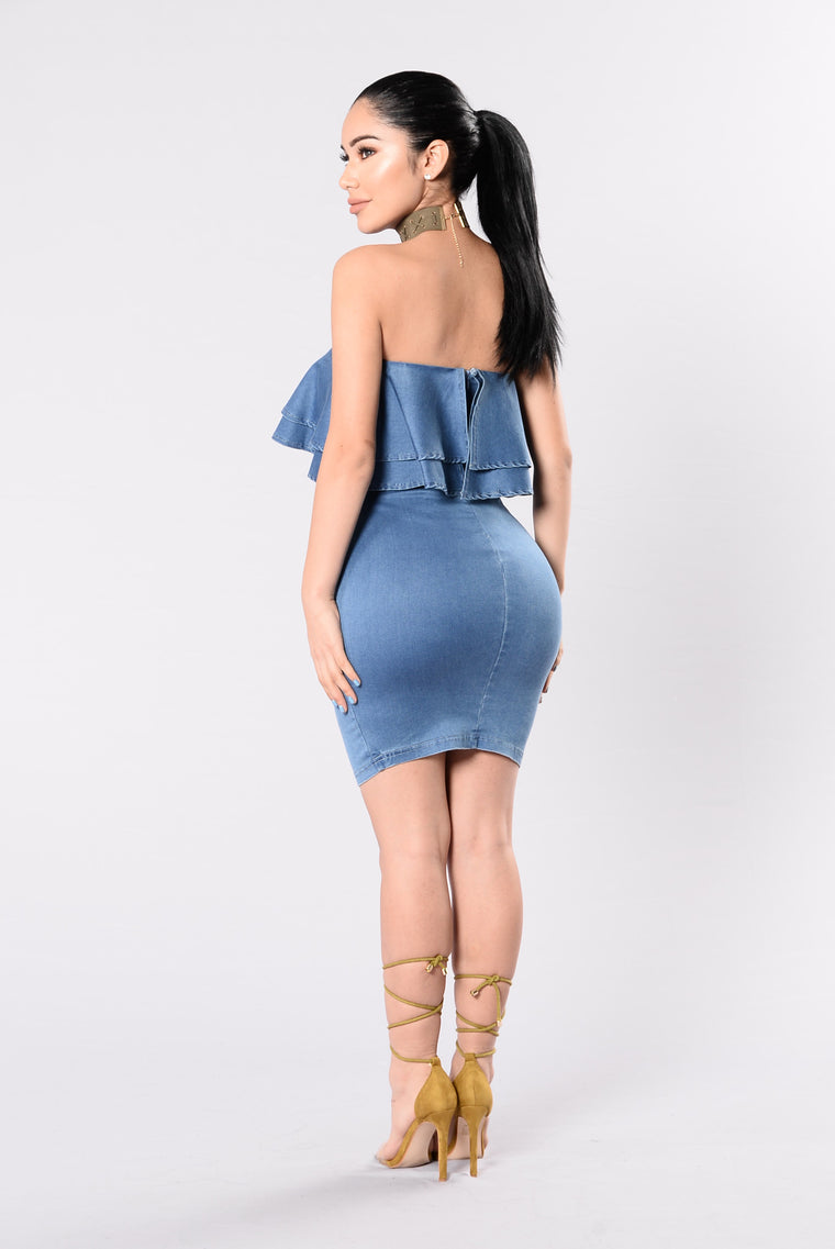 Play No Games Dress - Medium Denim