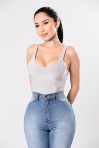 Swoop The Scoop Bodysuit - Grey