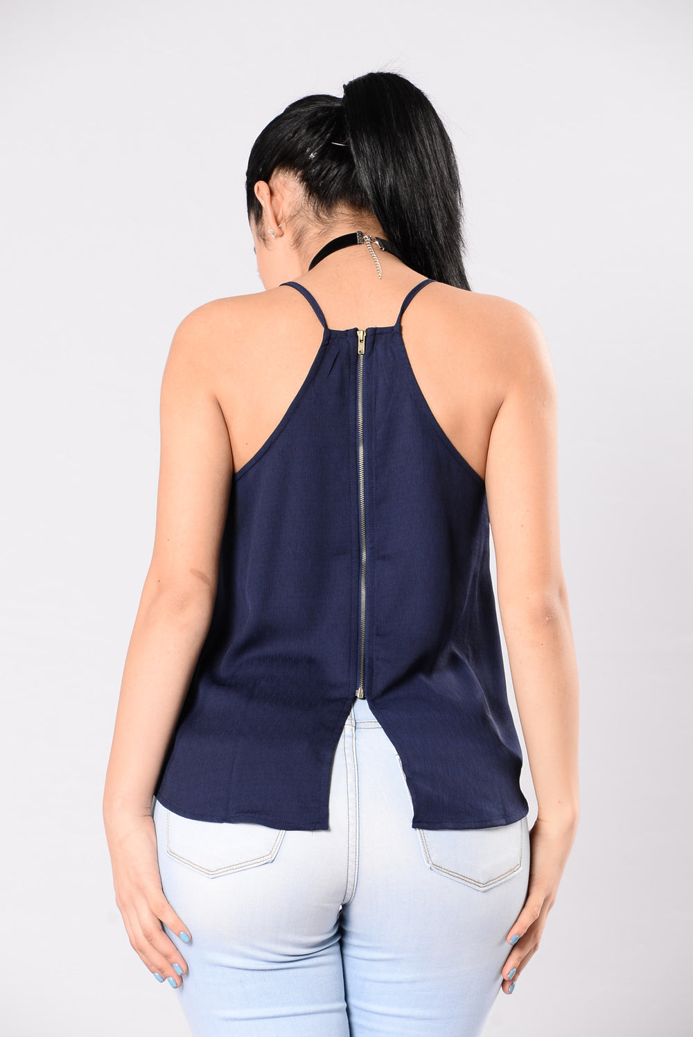 Zipped Shut Top - Navy