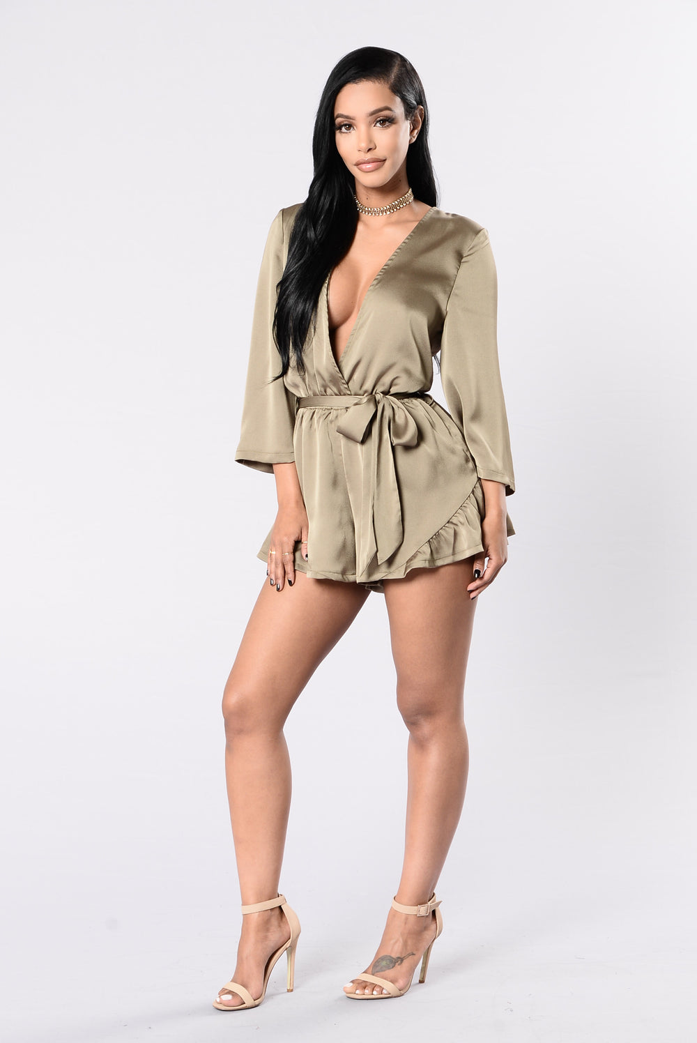 Restless Love Romper - Olive
