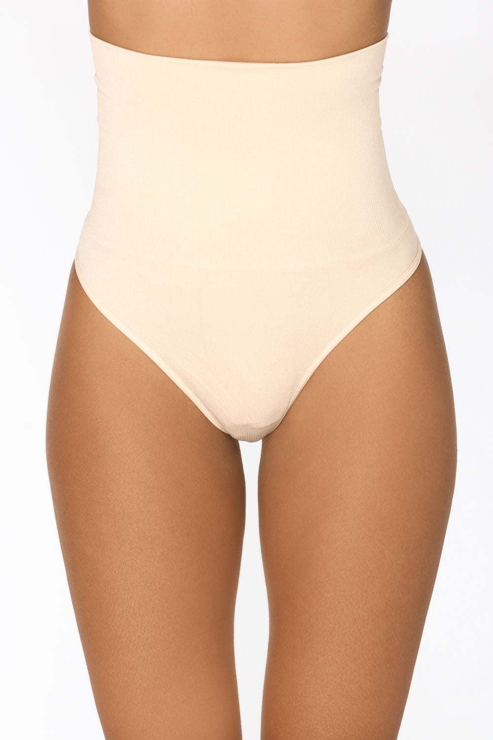 High Waist Shapewear Thong - Beige