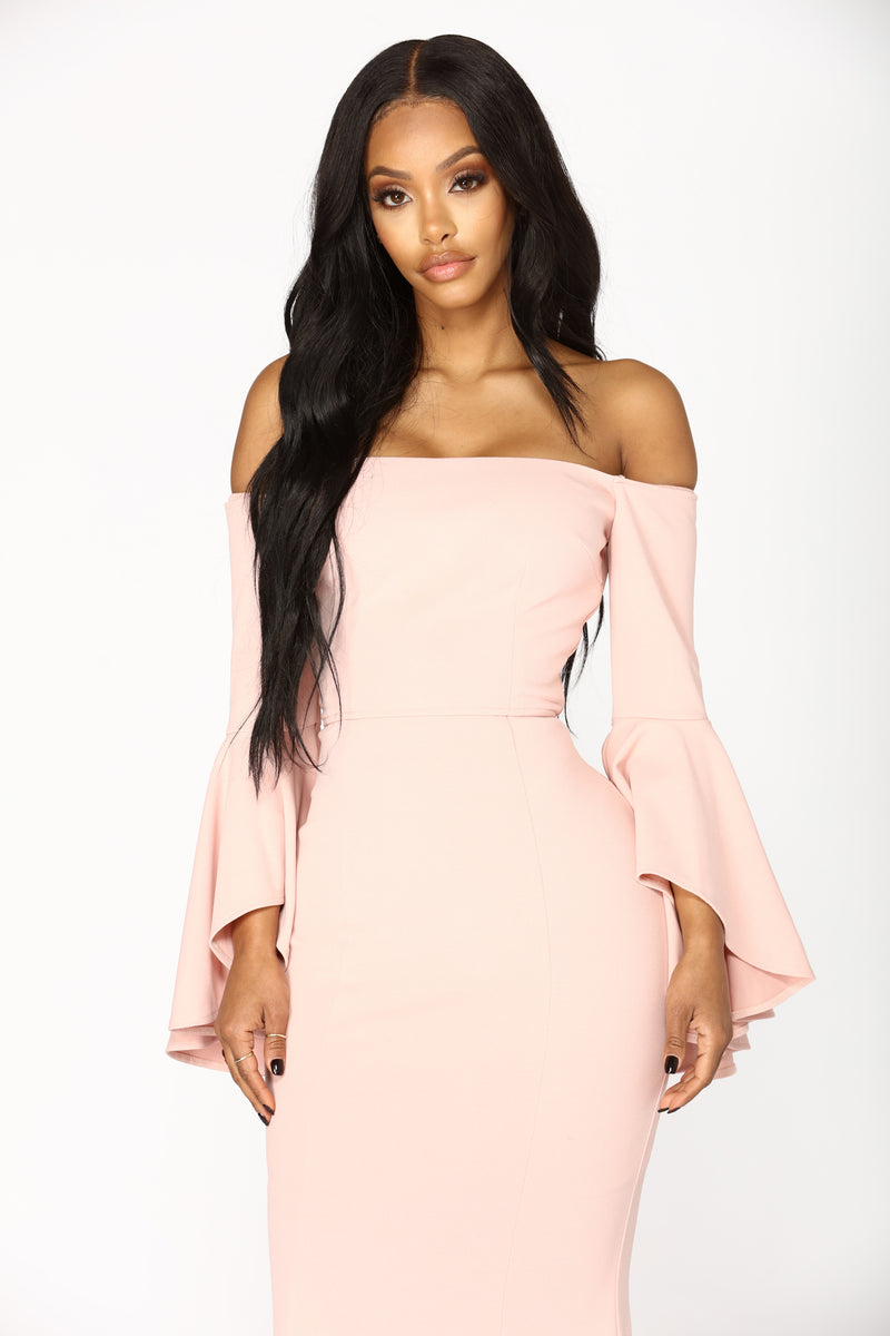 Fascination Off Shoulder Dress - Blush