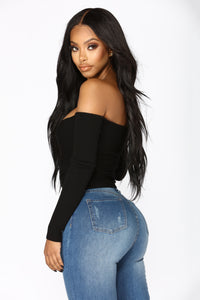 Your Everyday Crop Off Shoulder Sweater - Black