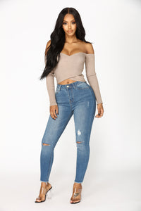 Your Everyday Crop Off Shoulder Sweater - Mocha