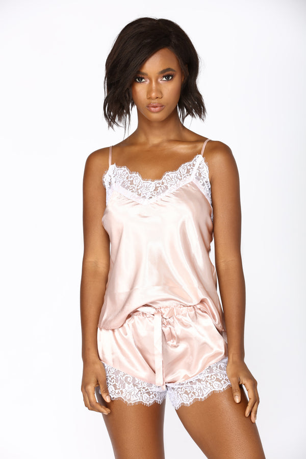Needs Attention Satin Pj Set - Rose 176a4ffac