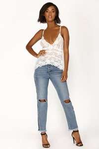Carried Away Lace Top - White