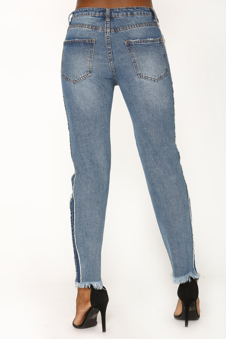 Mix Tape Boyfriend Jeans - Medium Blue Wash