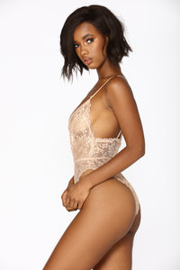 Sweet Devotion Lace Teddy - Nude