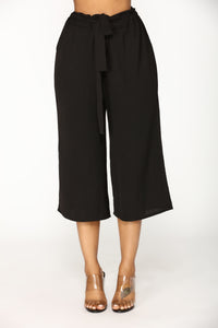 Shirley Waist Tie Pants - Black