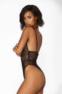 Sweet Devotion Lace Teddy - Black Angle 2