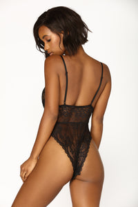 Sweet Devotion Lace Teddy - Black Angle 3