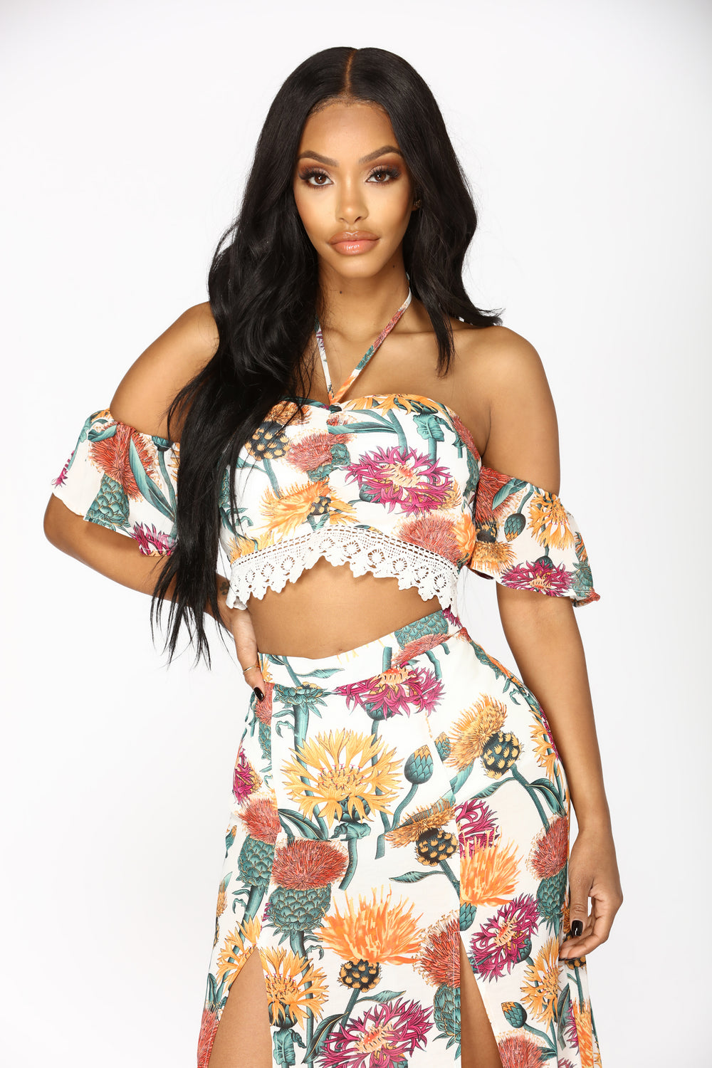 Michiko Floral Skirt Set - White