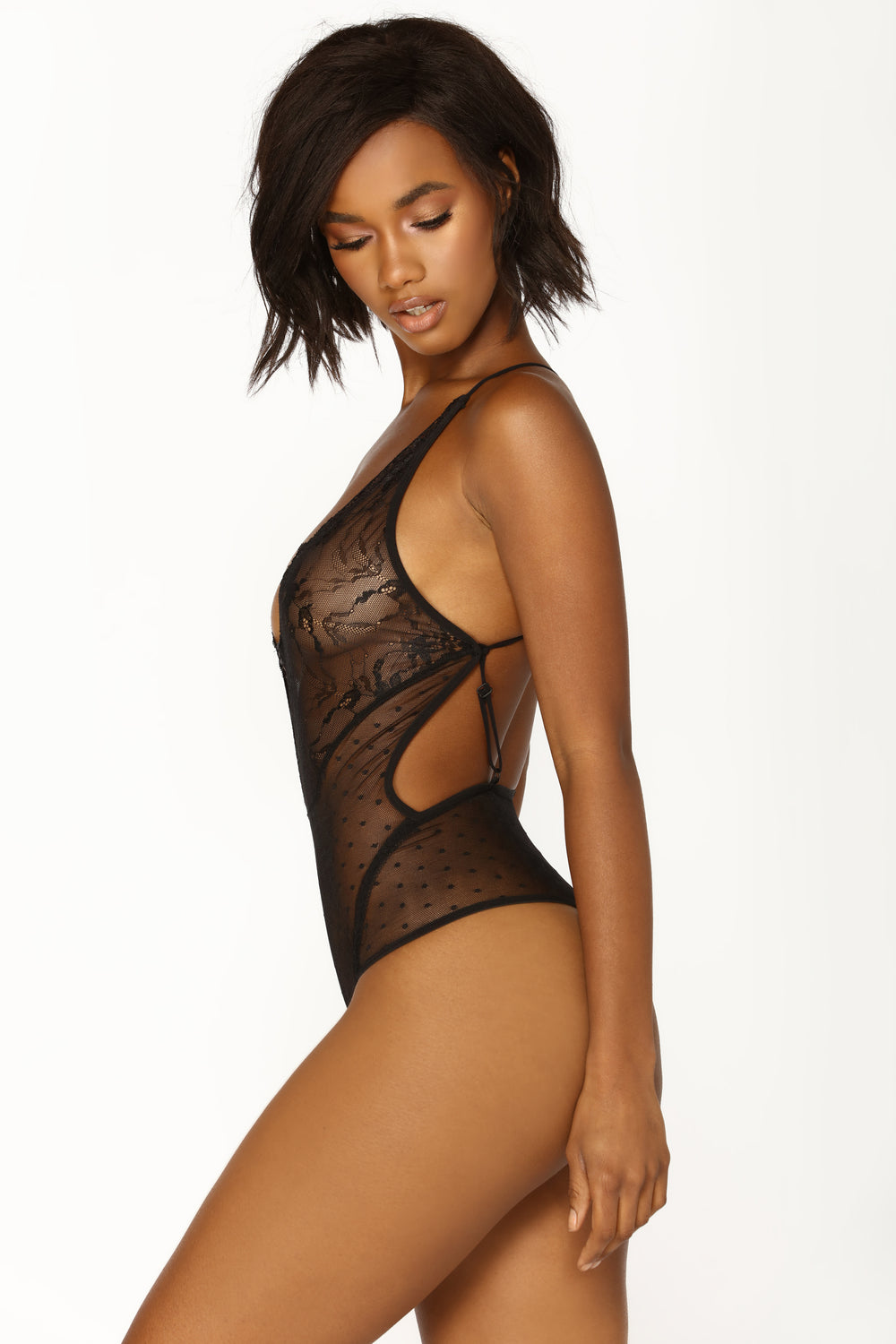Show It Off Lace Teddy - Black