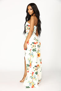 Sun In The Sky Floral Jumpsuit - Ivory Multi