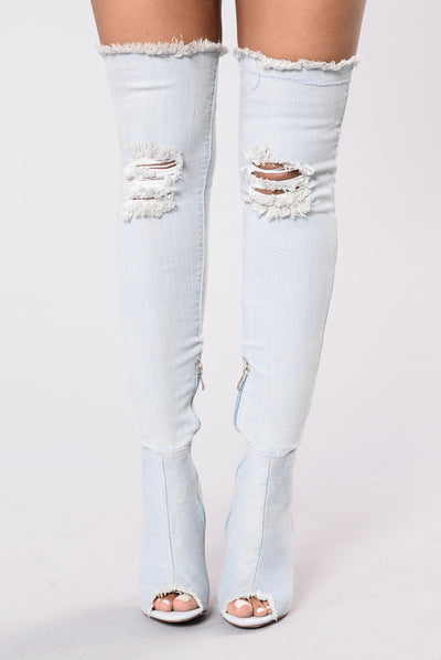Not Shy High Boots - Light Blue