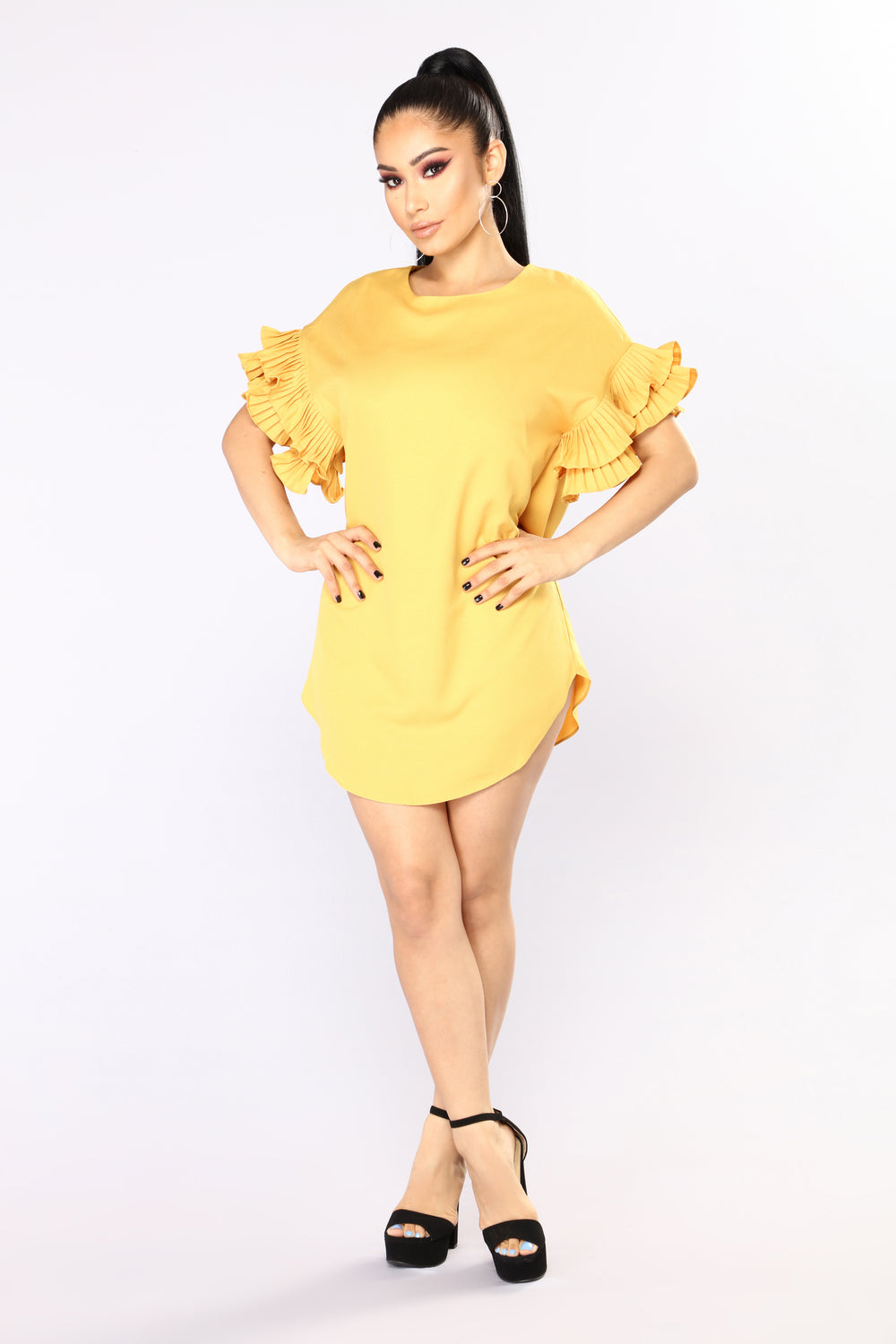 Marietta Ruffle Mini Dress - Mustard