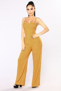 Far Out Polka Dot Jumpsuit - Mustard