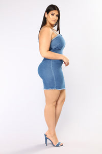 Life Is A Highway Denim Dress - Dark Wash