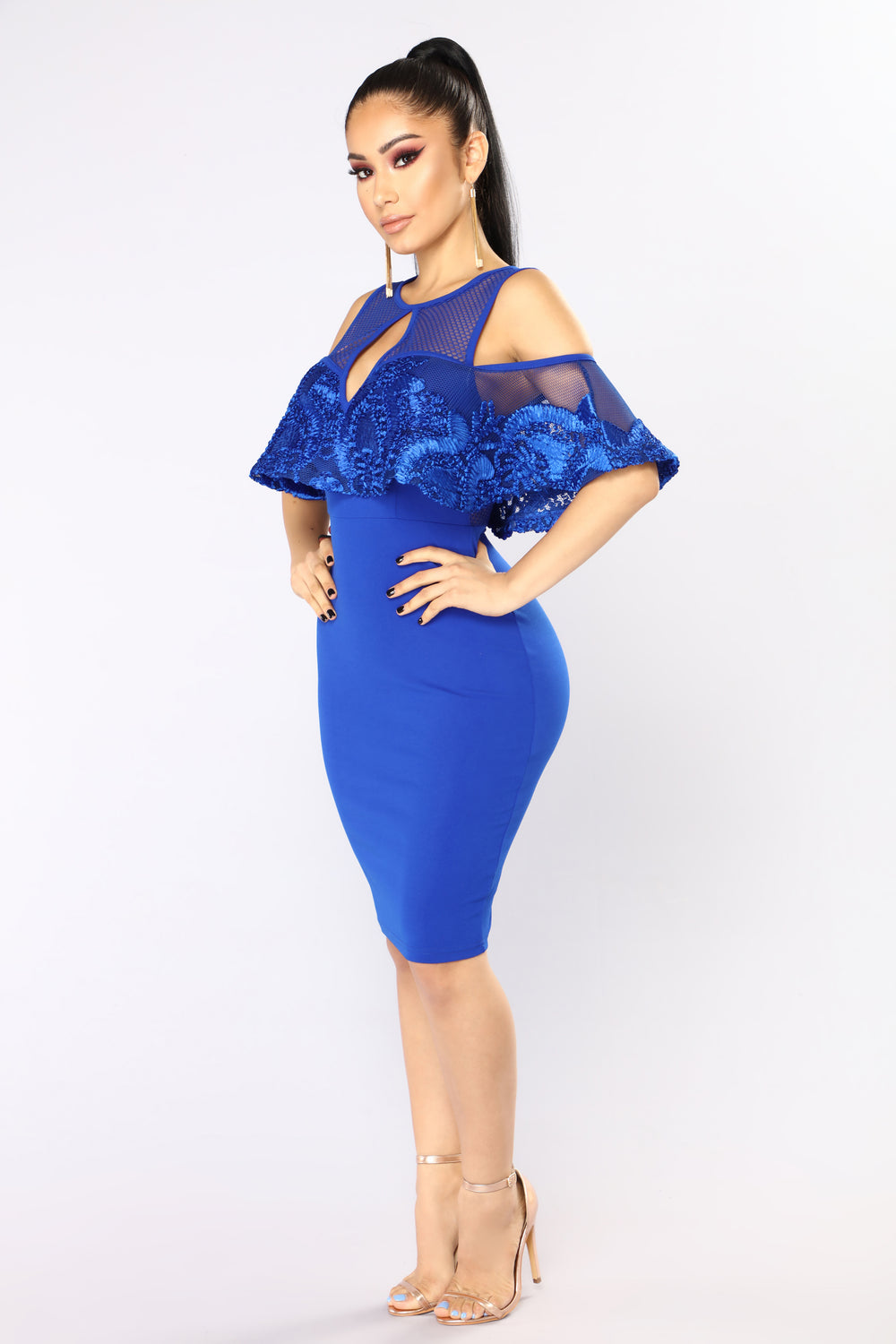 Telling Your Secret Midi Dress - Royal