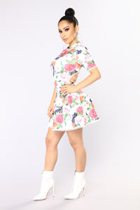 Blueberry Fields Forever Flare Dress - White Floral