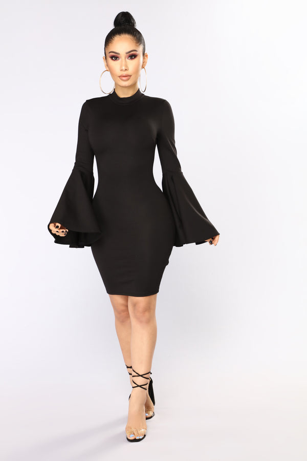 Carys Bell Sleeve Dress - Black 13f3496d2