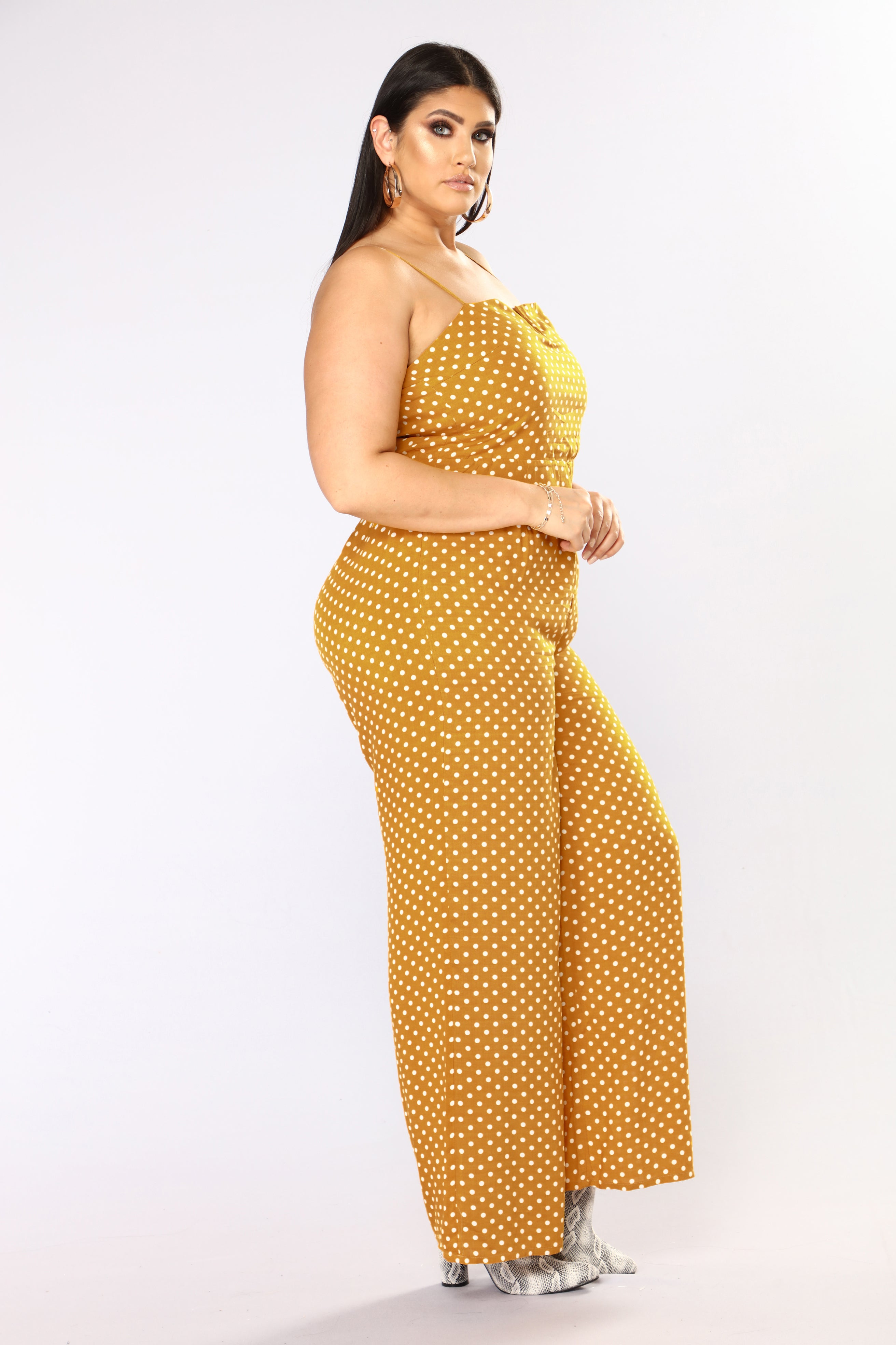 c83902d6774 Far Out Polka Dot Jumpsuit - Mustard