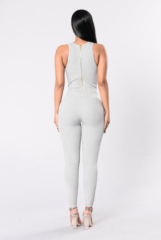 Need A New Bae Jumpsuit - Heather Grey