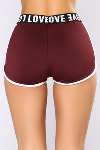 Lift My Love Active Shorts - Burgundy