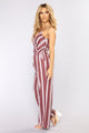 Love The Rush Stripe Jumpsuit - Plum