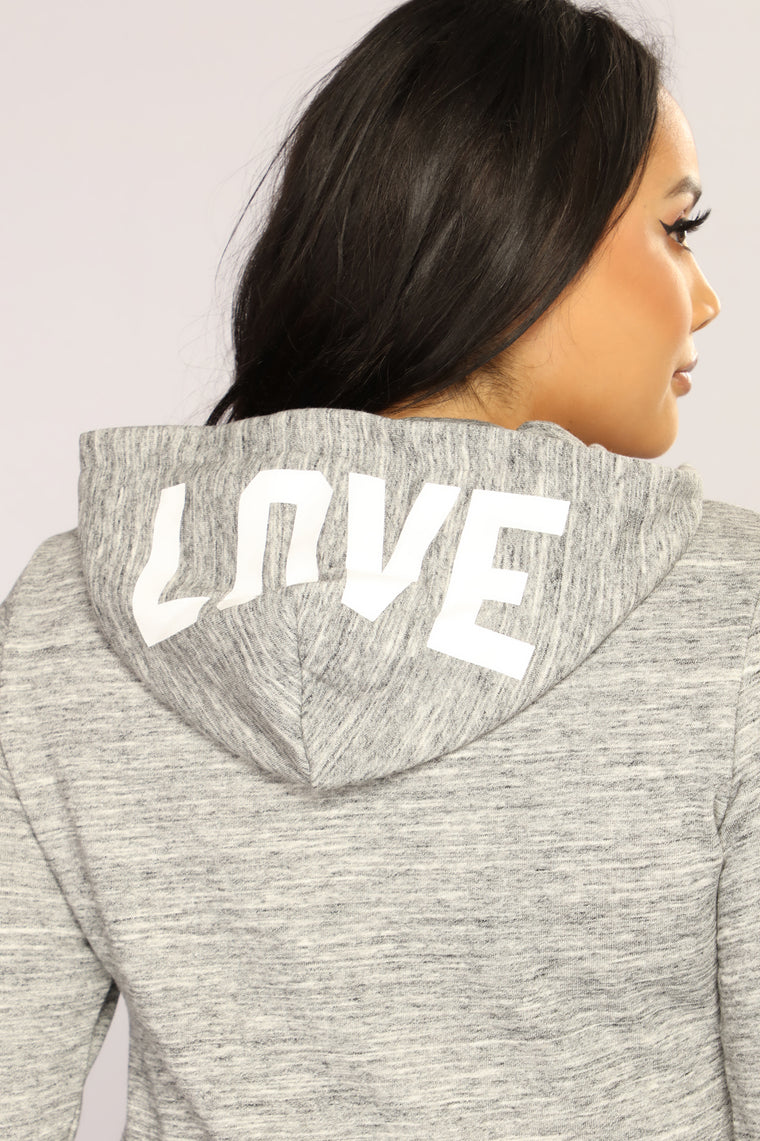 Love Laced Lounge Hoodie - Marled Charcoal