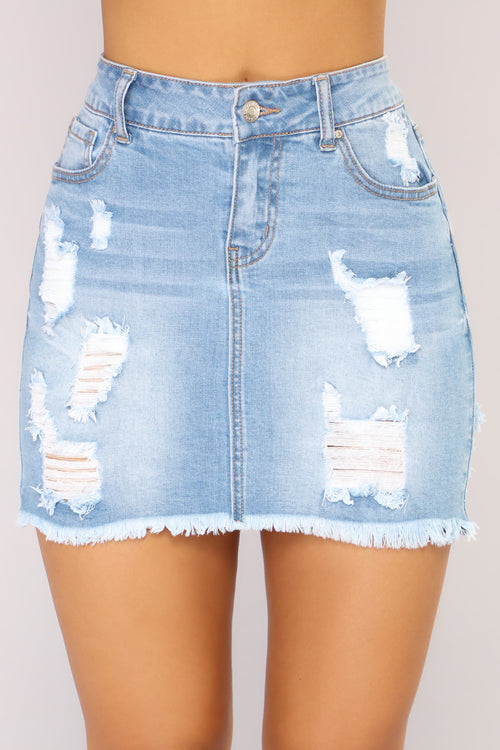 Love Me Now Denim Skirt - Light Wash