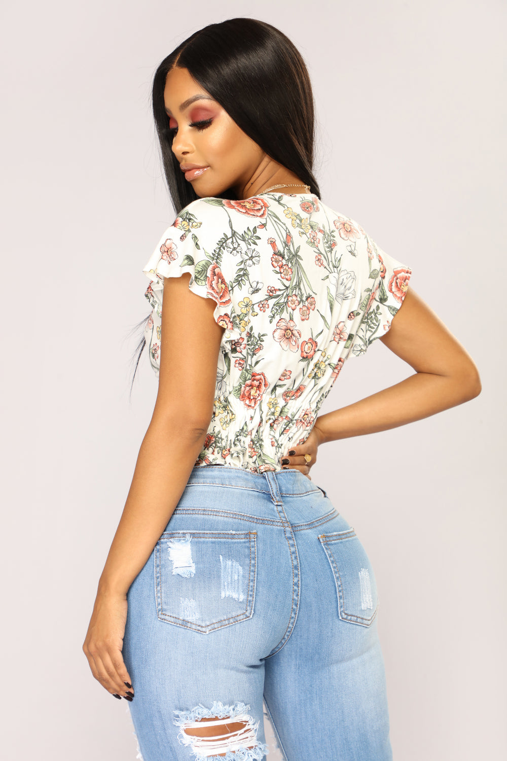 Talk Flowers To Me Floral Top - White/Combo