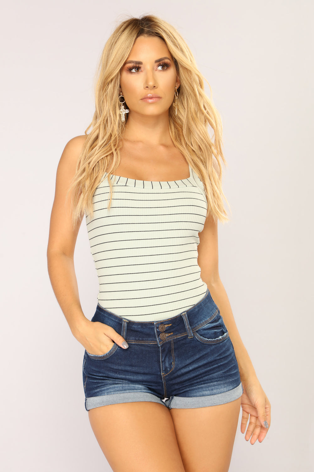 New Breed Striped Bodysuit - Sage
