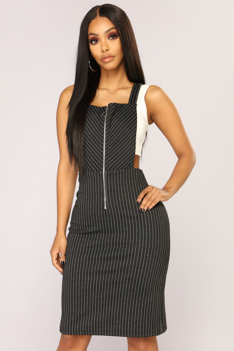 Bonnie And Clyde Overall Dress - Black