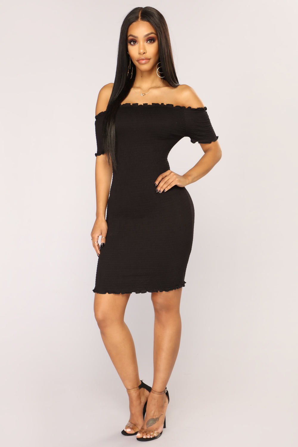 Terry Smocked Dress - Black