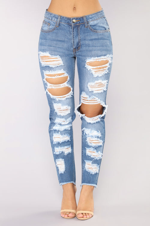 Count On Me Boyfriend Jeans - Medium Blue Wash