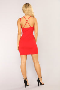 Slayin' Hearts Mini Dress - Red