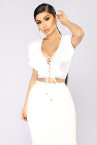 The Pretender Lace Up Ruffle Top - White