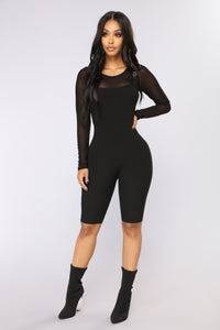 Buckle Up Biker Romper - Black