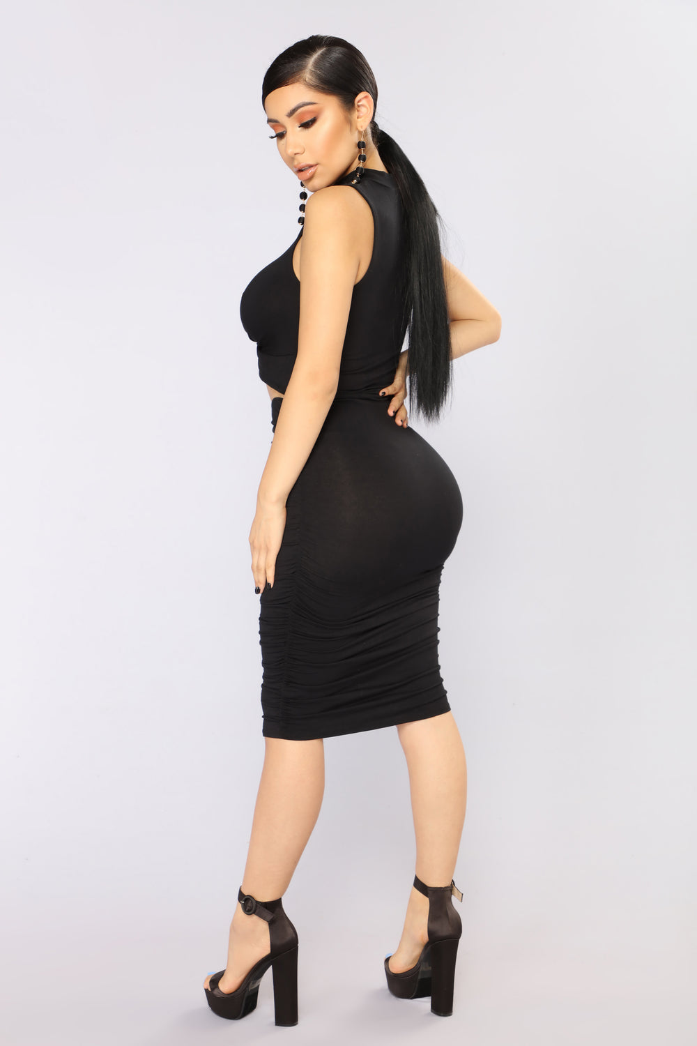 Kacy Ruched Dress - Black