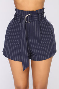 French Affair High Rise Shorts - Navy