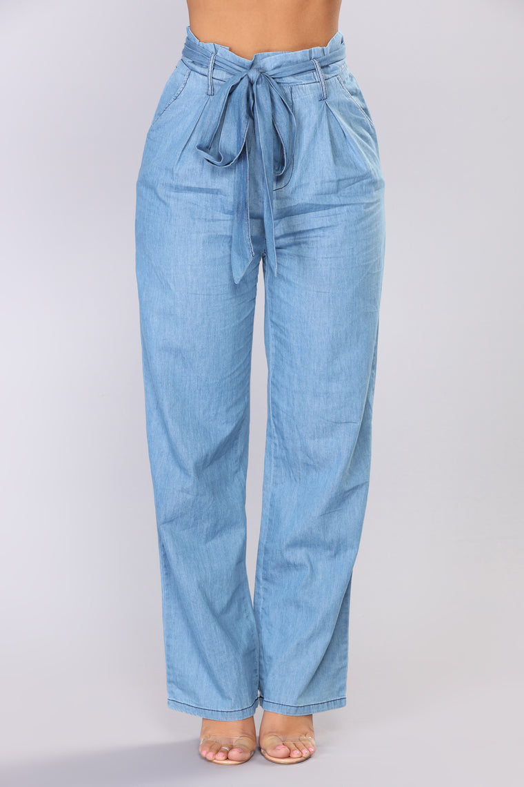 Karyssa Tie Pants - Medium Blue Wash