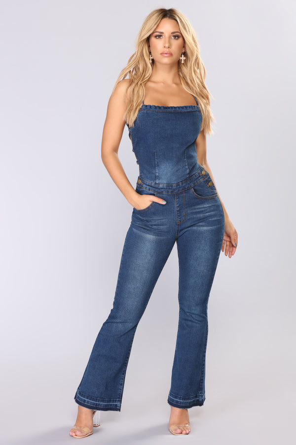 03cd616926 Come On Denim Jumpsuit - Blue