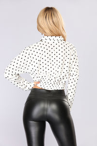 Milena Polka Dot Top - White/Black