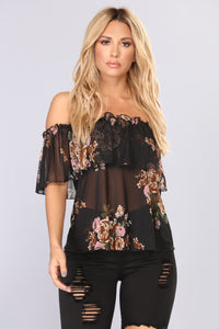 Front Of Mine Off Shoulder Top - Black