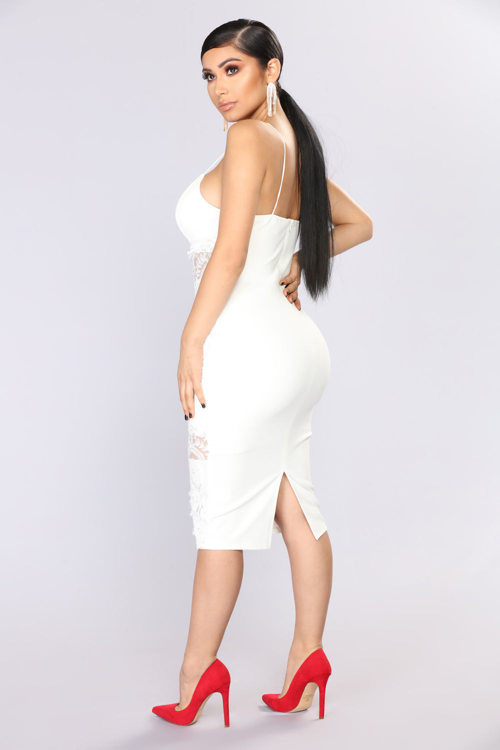 Keep Up With My Vibe Midi Dress - White