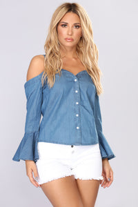Raelyn Cold Shoulder Top - Denim