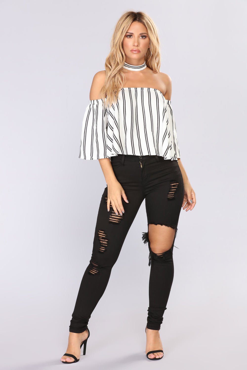 Lilah Off Shoulder Top - Ivory/Black